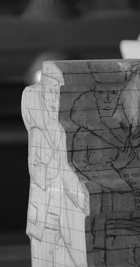 Bloc de bois, dessin quadrillage