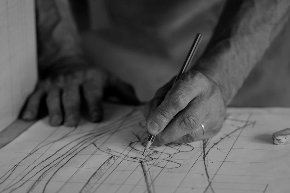 Dessin préparatoire de l'artiste sculpteur