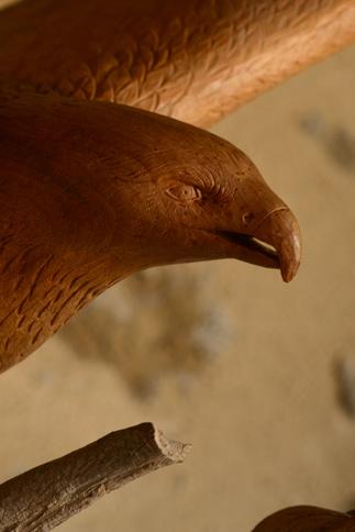 Détail d'oeil, sculpture d'un aigle
