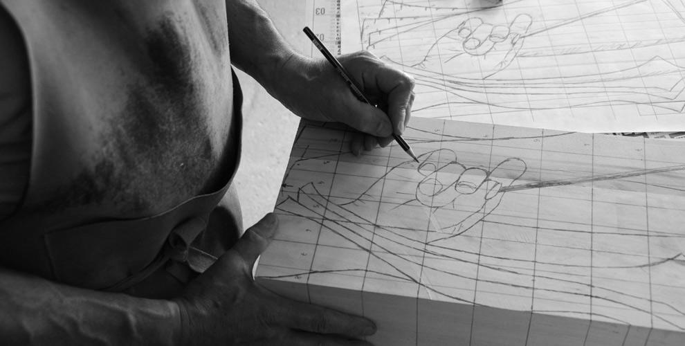 Dessin préparatoire du sculpteur sur bois